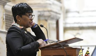 Adrienne Jones, D-Baltimore County, addresses the Maryland House of Delegates in Annapolis, Md., Monday, April 8, 2019, the final day of the state's 2019 legislative session. (AP Photo/Steve Ruark)