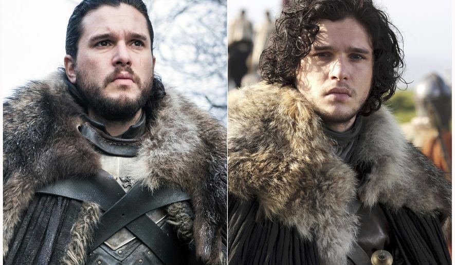 "This combination photo of images released by HBO show Kit Harington portraying Jon Snow in ""Game of Thrones."" The final season of the popular series premieres on April 14. (HBO via AP)"