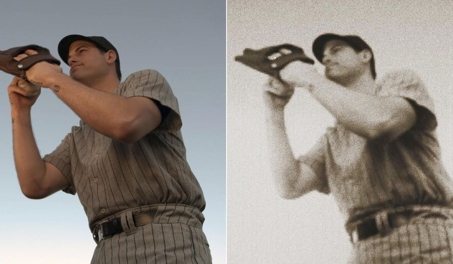 """At left is a scene from a commercial showing New York Yankees baseball player Adam Ottavino preparing to pitch to Babe Ruth. At right is the same photo, edited with Adobe After Effects software. Back in December, Ottavino told the MLB.com's Statcast podcast: """"I would strike Babe Ruth out every time."""" A month later, the native New Yorker signed with a $27 million, three-year contract with the Yankees, who view Ruth as a deity. Within days, the team approached Ottavino about making a commercial in which he pitches to Ruth with catastrophic consequences. (Yankees On Demand via AP)"""