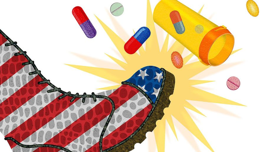 Bad Medicine for Drugs Market Illustration by Greg Groesch/The Washington Times