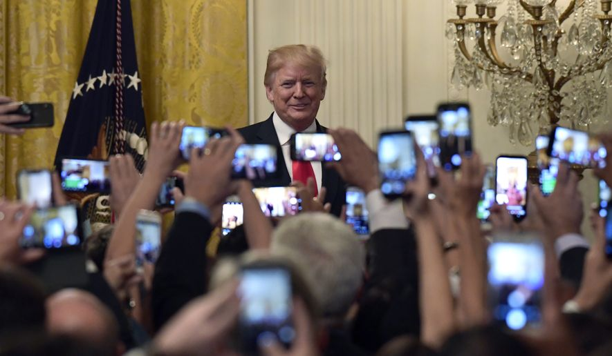 President Donald Trump arrives to speak during a Hispanic Heritage Month Celebration in the East Room of the White House in Washington, Monday, Sept. 17, 2018. (AP Photo/Susan Walsh) ** FILE **