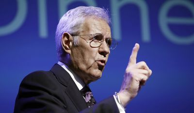 """Alex Trebek speaks during a gubernatorial debate between Democratic Gov. Tom Wolf and Republican Scott Wagner in Hershey, Pennsylvania, Oct. 1, 2018. Canadian """"Jeopardy!"""" host Trebek announced he's been diagnosed with advanced pancreatic cancer in a YouTube video on Wednesday, March 6, 2019, that had a positive tone despite the grim prognosis. (AP Photo/Matt Rourke) ** FILE **"""