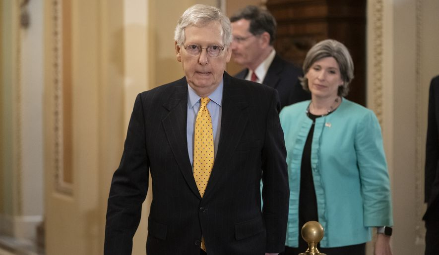 Senate Majority Leader Mitch McConnell, R-Ky., followed by Sen. John Barrasso, R-Wyo., and Sen. Joni Ernst, R-Iowa, right, arrives to speak to reporters at the Capitol in Washington, Tuesday, April 9, 2019. (AP Photo/J. Scott Applewhite) **FILE**