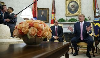 President Donald Trump speaks during a meeting with Egyptian President Abdel Fattah el-Sissi in the Oval Office of the White House, Tuesday, April 9, 2019, in Washington. (AP Photo/Evan Vucci)