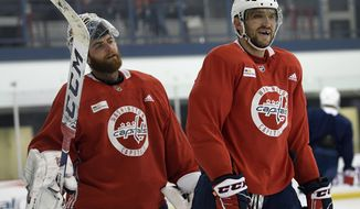 Washington Capitals Alex Ovechkin, left, and Braden Holtby, left, skate during a team practice in Arlington, Va., Monday, April 8, 2019. (AP Photo/Susan Walsh)