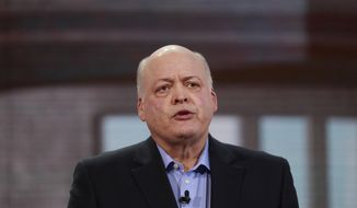 FILE- In this Jan. 14, 2018, file photo Ford President and CEO Jim Hackett addresses the media at the North American International Auto Show in Detroit. Hackett is hoping for balance and stability in what is now an unstable tariff environment. Hackett said Tuesday, April 9, 2019, that businesses want equilibrium on tariffs, and President Donald Trump is working hard on that as his administration negotiates trade deals. (AP Photo/Carlos Osorio, File)