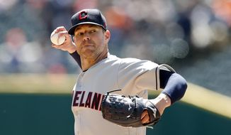 Cleveland Indians starting pitcher Corey Kluber throws during the first inning of a baseball game against the Detroit Tigers, Tuesday, April 9, 2019, in Detroit. (AP Photo/Carlos Osorio)