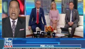 """Talk radio host Larry Elder ripped Media Matters for America on Twitter Tuesday for misrepresenting remarks he made earlier on """"Fox & Friends"""" about slavery reparations. (Fox News)"""