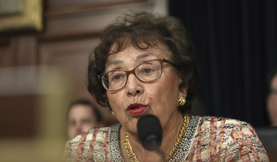 Rep. Nita Lowey, D-N.Y., chairwoman of the House Appropriations Committee, is shown in this Tuesday, April 9, 2019 file photo from a subcommittee hearing held in Washington. (AP Photo/Andrew Harnik) **FILE**