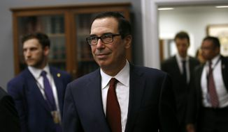"Treasury Secretary Steven Mnuchin arrives to testify before a House Appropriations subcommittee during a hearing on Capitol Hill, Tuesday, April 9, 2019, in Washington. Mnuchin said Tuesday that his department intends to ""follow the law"" and is reviewing a request by a top House Democrat to provide Trump's tax returns to lawmakers. (AP Photo/Patrick Semansky)"
