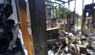 The burnt ruins of the Greater Union Baptist Church, one of three that recently burned down in St. Landry Parish, are seen in Opelousas, La., Wednesday, April 10, 2019. (AP Photo/Gerald Herbert) **FILE**