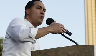 Julian Castro, a 2020 Democratic presidential candidate, speaks during a rally in San Antonio, Wednesday, April 10, 2019. (AP Photo/Eric Gay)