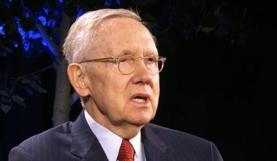 In this April 3, 2018, file photo, former Senate Majority Leader Harry Reid speaks during a lecture series at the University of Nevada, Reno. (AP Photo/Scott Sonner, File)