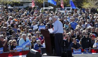 In this March 16, 2019, file photo, Democratic presidential candidate Sen. Bernie Sanders, I-Vt., speaks at a rally in Henderson, Nev. (AP Photo/John Locher, File)