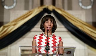 In this Dec. 6, 2016, file photo, Baltimore Mayor Catherine Pugh delivers an address during her inauguration ceremony inside the War Memorial Building in Baltimore. (AP Photo/Patrick Semansky, File)