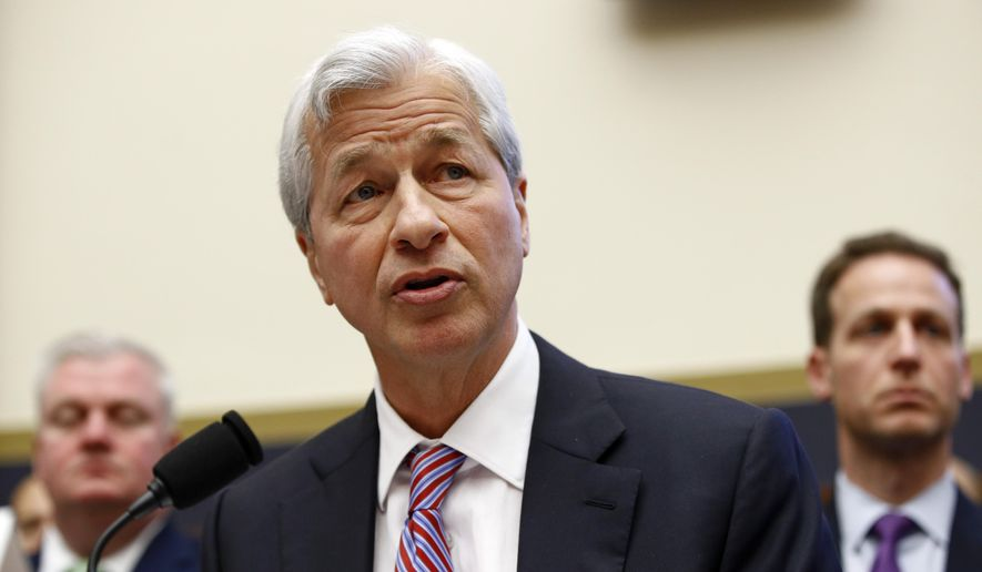 JPMorgan Chase Chairman and CEO Jamie Dimon testifies before the House Financial Services Committee during a hearing, Wednesday, April 10, 2019, on Capitol Hill in Washington. (AP Photo/Patrick Semansky) ** FILE **