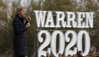 In this Feb. 17, 2019, file photo, Democratic presidential candidate Sen. Elizabeth Warren, D-Mass., speaks at an organizing event in Las Vegas. The Iowa caucus is still 10 months away, but the Democratic primary campaign is already an all-out sprint _ passing eye-popping markers for campaign activity and voter engagement. (AP Photo/John Locher, File) **FILE**