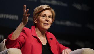Democratic presidential candidate Sen. Elizabeth Warren, D-Mass., speaks at the Heartland Forum held on the campus of Buena Vista University in Storm Lake, Iowa, Saturday, March 30, 2019. (AP Photo/Nati Harnik) ** FILE **