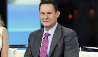 """This Jan. 17, 2018 file photo shows co-host Brian Kilmeade on the set of """"Fox & Friends"""" in New York. (AP Photo/Richard Drew, File)"""