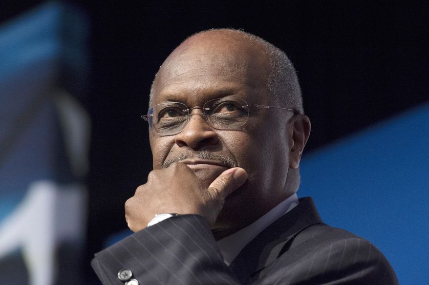 In this June 20, 2014, file photo, Herman Cain, CEO, The New Voice, speaks during Faith and Freedom Coalition's Road to Majority event in Washington.  President Donald Trump said Wednesday, April 10, 2019, that Cain is a 'wonderful man' but it will be up to him to decide whether to go forward with a nomination to the Federal Reserve's seven-member board. (AP Photo/Molly Riley, File) ** FILE **