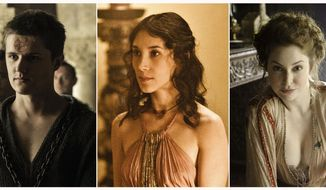 """This combination of photos released by HBO shows, from left, Kerry Ingram portraying Shireen Baratheon, Eugene Simon portraying Lancel Lannister, Sibel Kekilli portraying Shae, Esme Bianco portraying Ros and Julian Glover portraying Grand Maester  Pycelle in the HBO series """"Game of Thrones."""" The final season premieres on Sunday. (HBO via AP)"""