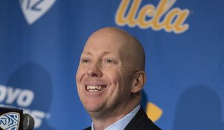UCLA basketball coach Mick Cronin speaks during a press conference, Wednesday, April 10, 2019 in Westwood, Calif. Mick Cronin has been hired as UCLA's basketball coach, ending a months-long search to find a replacement for the fired Steve Alford. The university says Cronin agreed to a $24 million, six-year deal. (Brian van der Brug/Los Angeles Times via AP)