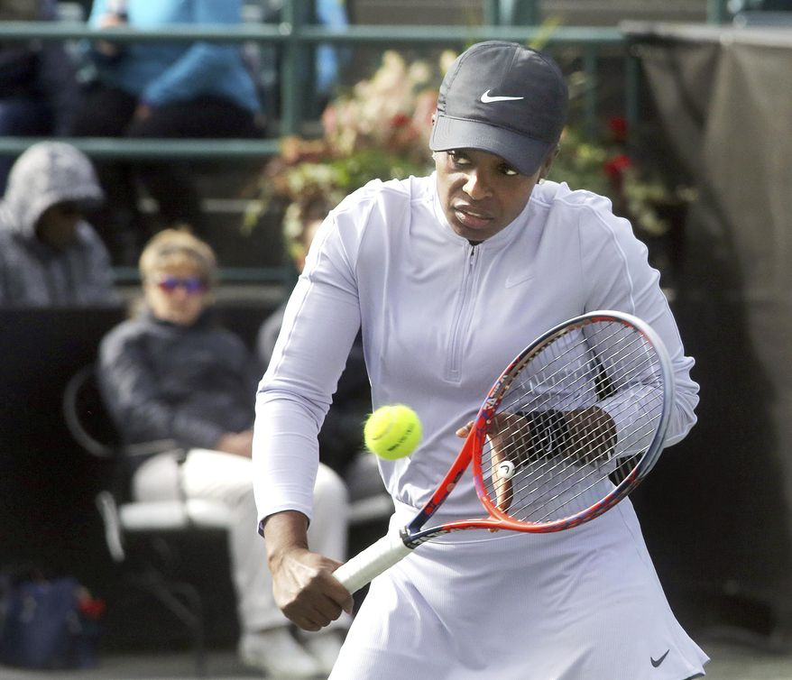 Sloane Stephens returns a shot from Sara Sorribes Tormo during their match Tuesday, April 2, 2019, at the Volvo Car Open held in Charleston, South Carolina. Stephens won the match 7-6, 7-6. (Brad Nettles/The Post And Courier via AP)