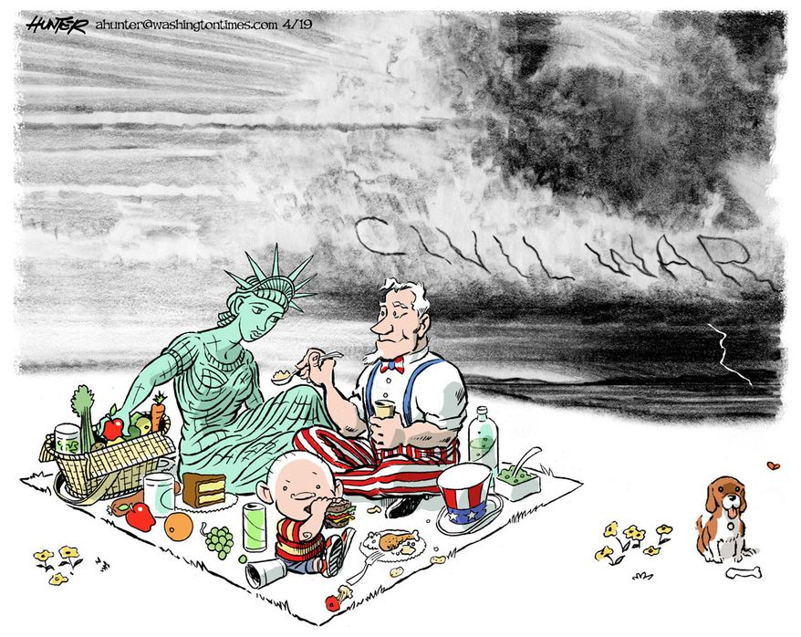 Illustration by Alexander Hunter for The Washington Times (published April 11, 2019)