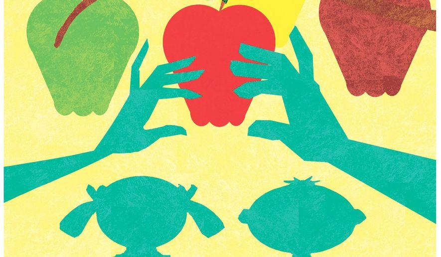 Illustration on school choice by Alexander Hunter/The Washington Times