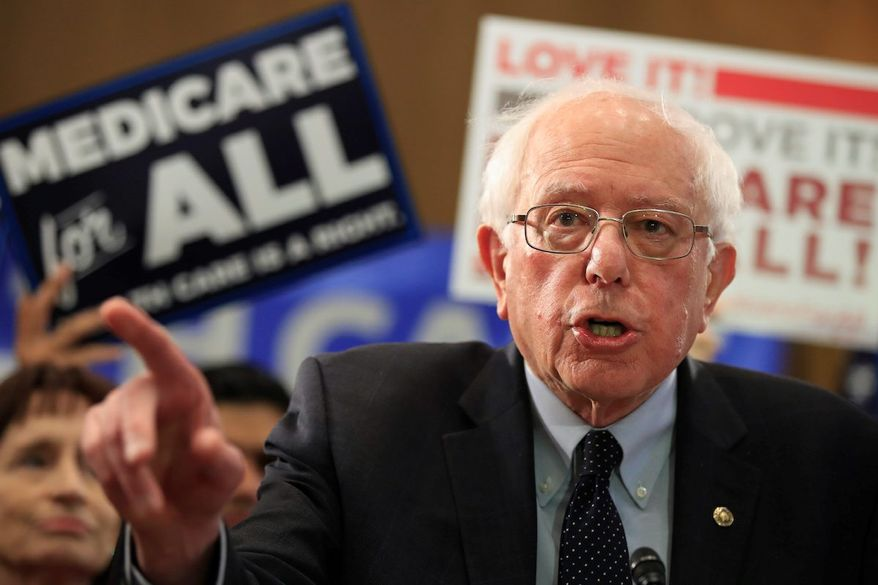 Sen. Bernie Sanders, I-Vt., introduces the Medicare for All Act of 2019, on Capitol Hill in Washington, Wednesday, April 10, 2019. (AP Photo/Manuel Balce Ceneta) **FILE**