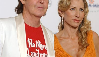 Paul McCartney and Heather Mills. Divorce settlement: $48.6 million                                              Adopt-A-Minefield Goodwill Ambassadors Paul McCartney and Heather Mills McCartney pose for photographers before the Adopt-A-Minefield fifth annual gala, Tuesday, Nov. 15, 2005, in Beverly Hills, Calif. McCartney and his wife hosted the event and the former Beattle joined Tony Bennett in a special musical performance later in the evening. (AP Photo/Rene Macura)