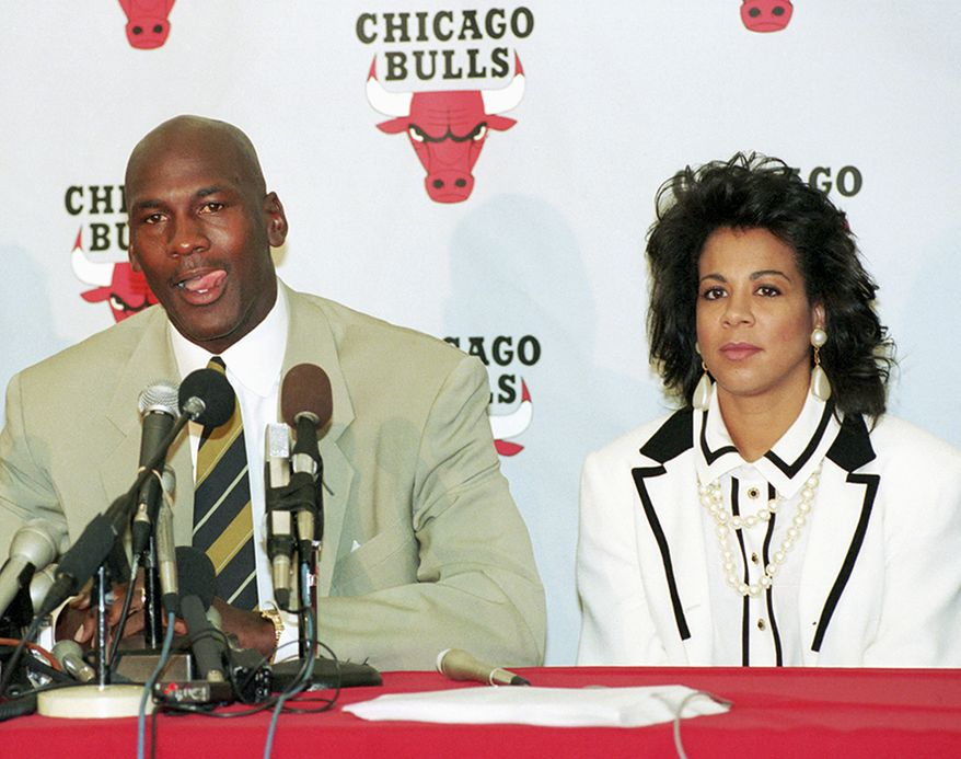 Michael Jordan and Juanita Jordan. Divorce settlement:  $168 million                                                 Chicago Bulls' Michael Jordan with his wife, Juanita, looking on announces his retirement from professional basketball at the Berto Center in Deerfield, Ill., in this Oct. 6, 1993, file photo. On Friday, Dec. 29, 2006, the couple announced they had divorced after 17 years of marriage. (AP Photo/Mike Fisher,file)