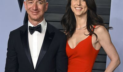 Jeff Bezos and MacKenzie Bezos. Divorce settlement: $35 billion                                                    Jeff Bezos and wife MacKenzie Bezos arrive at the Vanity Fair Oscar Party in Beverly Hills, Calif. The founder of Amazon and his wife have made their largest political donation to date, giving $10 million to With Honor, a nonpartisan political-action committee devoted to helping military veterans running for Congress. (Photo by Evan Agostini/Invision/AP, File)
