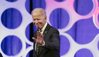 Former Vice President Joe Biden departs from a forum on the opioid epidemic, at the University of Pennsylvania in Philadelphia, Thursday, April 11, 2019. (AP Photo/Matt Rourke)