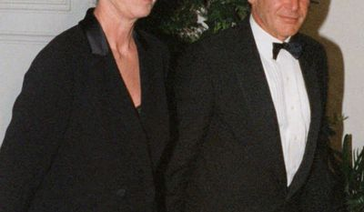 Harrison Ford and Melissa Mathison. Divorce settlement: $118 million                                                  Harrison Ford and his wife Melissa Mathison arrive at the White House for an official dinner for British Prime Minister hosted by President Clinton Thursday, Feb. 5, 1998 in Washington.  (AP Photo/Neshan H. Naltchayan)