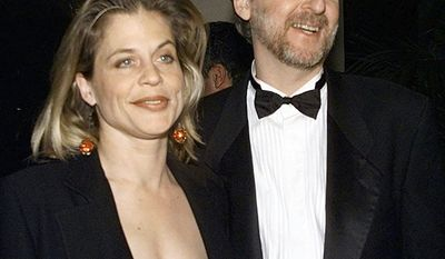 """James Cameron and Linda Hamilton. Divorce settlement: $50 million                                                   Director producer of """"Titanic"""" James Cameron, right, and actress Linda Hamilton arrive to the Producers Guild Golden Laurel Awards Tuesday, March 3, 1998, in Beverly Hills, Calif.  Cameron is nominated for the Darryl F. Zanuck Theatrical Motion Picture Producer of the Year Award. (AP Photo/Kevork Djansezian)"""