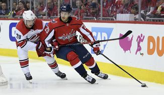 Washington Capitals center Lars Eller, right, of Denmark, skates with the puck against Carolina Hurricanes center Sebastian Aho, left, of Finland, during the second period of Game 1 of an NHL hockey first-round playoff series, Thursday, April 11, 2019, in Washington. (AP Photo/Nick Wass)