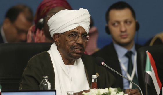 "In this May 18, 2018, file photo, Sudan's President Omar al-Bashir speaks during the extraordinary summit of the Organization of Islamic Cooperation (OIC), in Istanbul, Turkey.  Sudan's armed forces were to deliver an ""important statement"" and asked the nation to ""wait for it"" on Thursday, April 11, 2019, state TV reported, as two senior officials said the military had forced longtime President Omar al-Bashir to step down.(Presidential Press Service/Pool via AP, File) **FILE**"