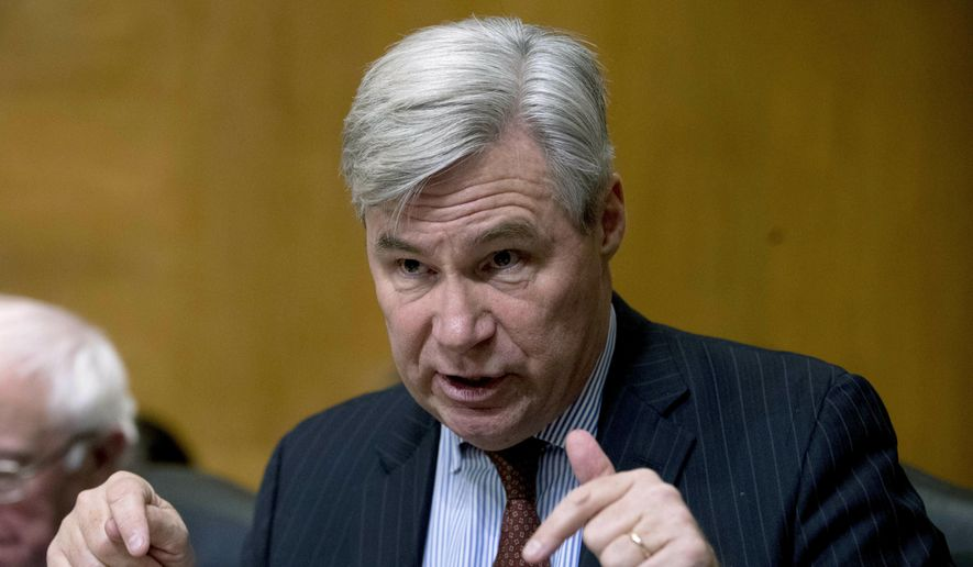In this Jan. 16, 2019, file photo, Sen. Sheldon Whitehouse, D-R.I., asks questions in a hearing on Capitol Hill in Washington. (Associated Press) **FILE**