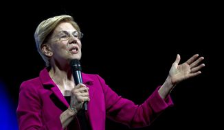 Democratic presidential candidate Sen. Elizabeth Warren, D-Mass., speaks during the We the People Membership Summit, featuring the 2020 Democratic presidential candidates, at the Warner Theater, in Washington, Monday, April 1, 2019. (AP Photo/Jose Luis Magana) ** FILE **