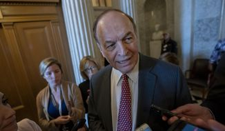 Sen. Richard Shelby, R-Ala., chair of the Senate Appropriations Committee, speaks with reporters just outside the chamber as legislative work wraps up following the confirmation of David Bernhardt to serve as secretary of the Interior, at the Capitol in Washington, Thursday, April 11, 2019. (AP Photo/J. Scott Applewhite) ** FILE **