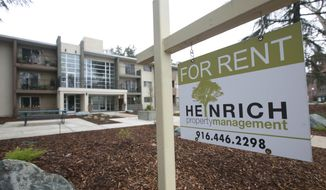 """FILE- This Jan. 8, 2017, file photo shows a """"For Rent"""" sign outside an apartment building in Sacramento, Calif. The growth in apartment rents is accelerating this year, fueled by increasing demand amid strong job growth, rising wages and more millennials seeking to move out on their own. (AP Photo/Rich Pedroncelli, File)"""