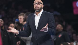 New York Knicks coach David Fizdale gestures during the first half of the team's NBA basketball game against the Detroit Pistons, Wednesday, April 10, 2019, at Madison Square Garden in New York. (AP Photo/Mary Altaffer)