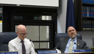 Alaska state Rep. Adam Wool, right, listens to testimony given by phone on the nomination of Amanda Price to be state Public Safety commissioner on Thursday, April 11, 2019, in Juneau, Alaska. Also shown is Rep. Jonathan Kreiss-Tomkins. (AP Photo/Becky Bohrer)