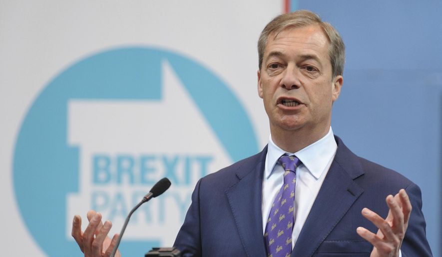 """British MEP Nigel Farage speaks during the launch of the Brexit Party's European election campaign, Coventry, England, Friday, April 12, 2019. On Friday, Nigel Farage launched the campaign of his newly formed Brexit Party. The former U.K. Independence Party leader said delays to Brexit were """"a willful betrayal of the greatest democratic exercise in the history of this nation."""" (AP Photo/Rui Vieira)"""