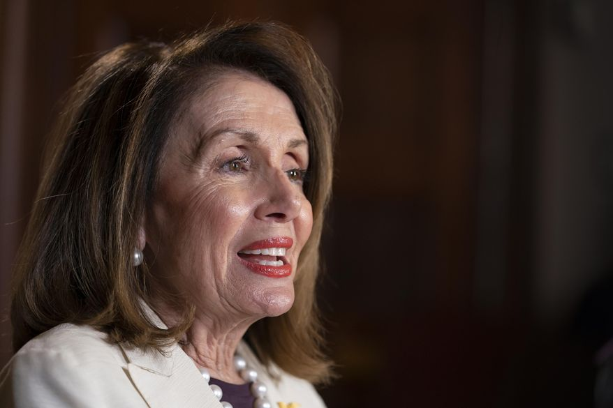 Speaker of the House Nancy Pelosi, D-Calif., speaks during an interview with The Associated Press in her office at the Capitol in Washington, Wednesday, April 10, 2019. House Democrats are rounding the first 100 days of their new majority taking stock of their accomplishments, noting the stumbles and marking their place as a frontline of resistance to President Donald Trump. (AP Photo/J. Scott Applewhite)