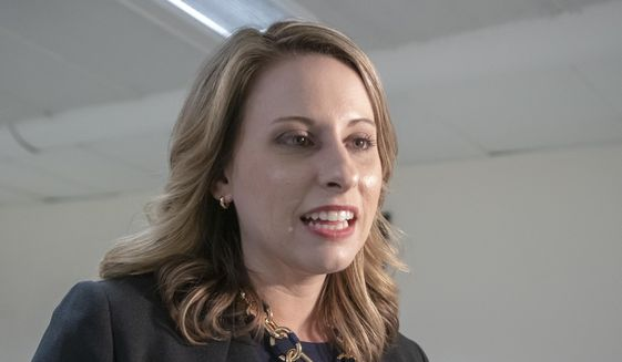 Rep. Katie Hill, D-Calif., is seen on Capitol Hill in Washington, Wednesday, April 3, 2019. (AP Photo/J. Scott Applewhite) ** FILE **