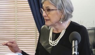 FILE - In this April 2, 2019, file photo, Kansas Senate President Susan Wagle, R-Wichita, speaks during a news conference at the Statehouse in Topeka, Kansas. Wagle is trying to bar Gov. Laura Kelly from nominating a new state Court of Appeals judge after Kelly was forced to withdraw her first choice. The Senate's top Republican sent a letter Friday, April 12, 2019, to Attorney General Derek Schmidt asking him to file a lawsuit to keep the Democratic governor from submitting another choice to the Senate for confirmation. (AP Photo/John Hanna, File)