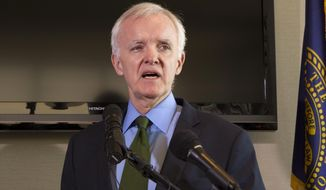 """FILE - In this March 8, 2012 file photo, Nebraska Democratic candidate for the U.S. Senate, Bob Kerrey speaks in Omaha, Neb. The Nebraska Republican Party says a Jesuit college in Omaha should rescind its invitation asking former Sen. Kerrey to speak at its commencement, citing his position on abortion. The state party's executive director, Ryan Hamilton, released a statement Thursday, April 11, 2019, saying that Creighton University should find a different commencement speaker and """"take a stand for their pro-life values.""""(AP Photo/Nati Harnik,File)"""