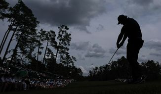 Phil Mickelson hits a drive on the 14th hole during the second round for the Masters golf tournament Friday, April 12, 2019, in Augusta, Ga. (AP Photo/David J. Phillip)